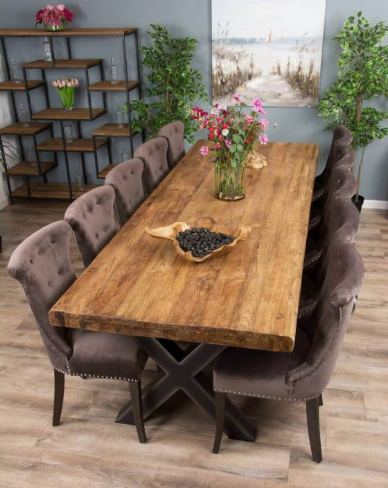 3m Reclaimed Teak Urban Fusion Cross Dining Table with Ten Velveteen Ring Back Dining Chairs