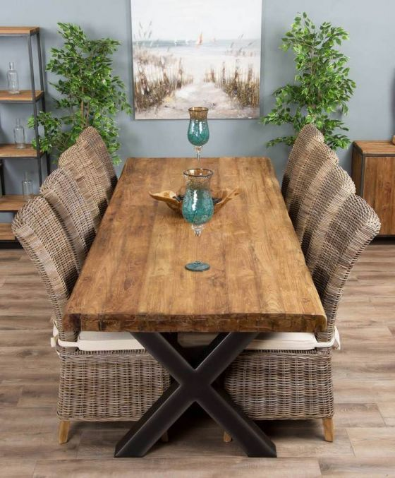 3m Reclaimed Teak Urban Fusion Cross Dining Table with Eight Latifa Dining Chairs