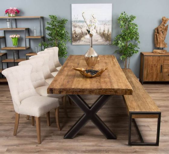 3m Reclaimed Teak Urban Fusion Cross Dining Table with One Backless Bench and 5 or 7 Natural Windsor Ring Back Dining Chairs