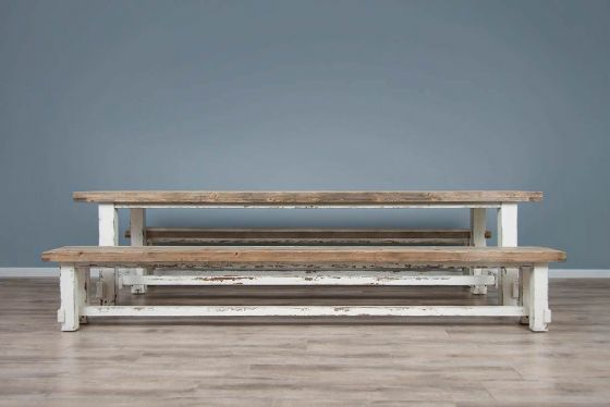 1.8m Reclaimed Pine Coastal Dining Table with 2 Backless Benches