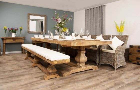 3m Reclaimed Elm Pedestal Dining Table with 5 Donna Armchairs and 1 Bench