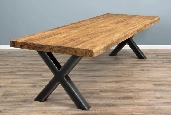 3m Reclaimed Teak Urban Fusion Cross Dining Table