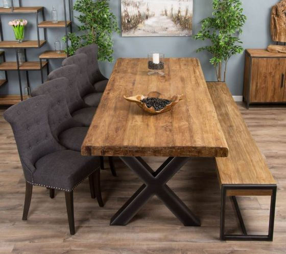 3m Reclaimed Teak Urban Fusion Cross Dining Table with One Backless Bench and 5 or 7 Dove Grey Windsor Ring Back Dining Chairs
