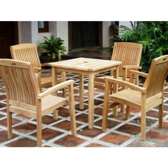 70cm Square Fixed Table with 4 Marley Armchairs