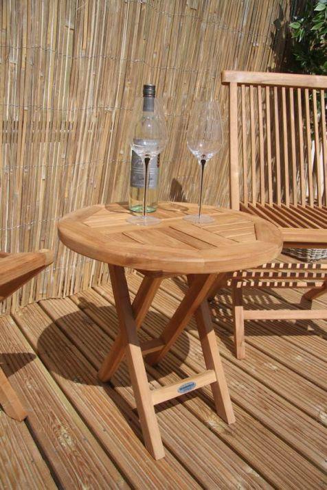 50cm Teak Circular Folding Side Table