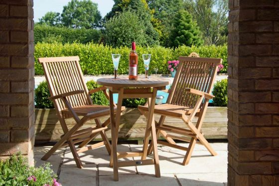 60cm Teak Circular Folding Table with 2 Classic Folding Armchairs