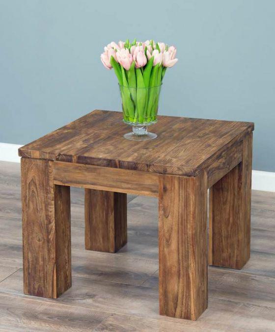 60cm Reclaimed Teak Square Coffee Table - Modern