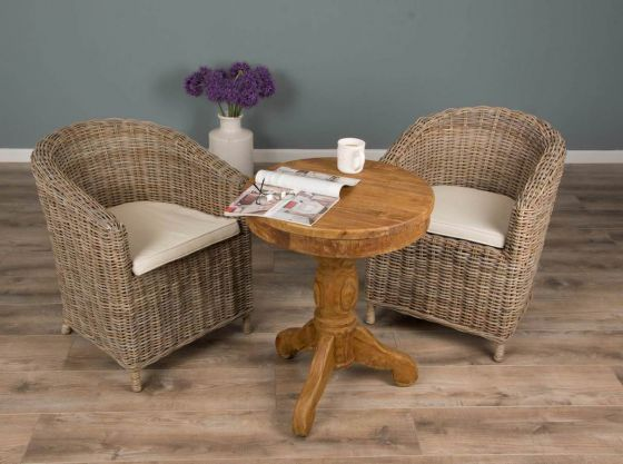 60cm Reclaimed Teak Circular Pedestal Table with 2 Riva Tub Dining Chairs