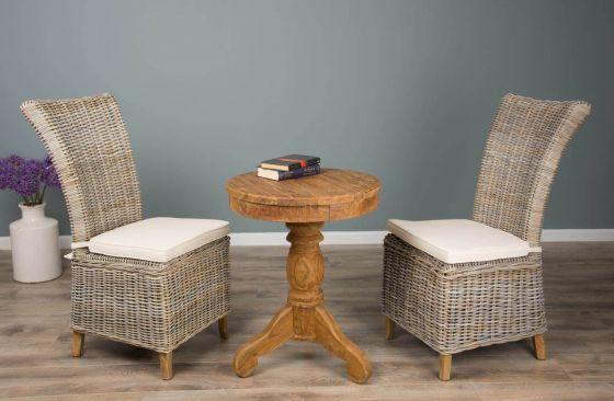 60cm Reclaimed Teak Circular Pedestal Table with 2 Latifa Dining Chairs