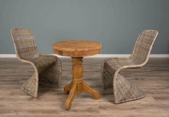 60cm Reclaimed Teak Circular Pedestal Table with 2 Stackable Zorro Dining Chairs