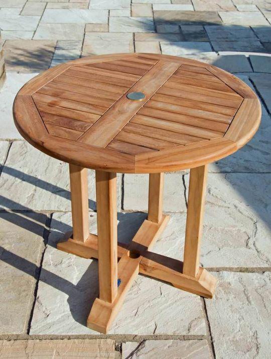 80cm Circular Pedestal Teak Garden Table