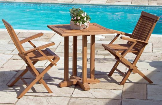 70cm Teak Square Pedestal Table with 2 Classic Folding Armchairs