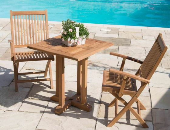 70cm Square Pedestal Teak Garden Table with 2 or 4 Kiffa Armchairs