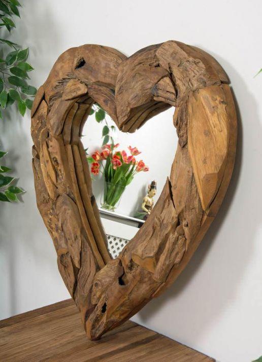 Reclaimed Teak Root Heart Mirror - 2 Sizes