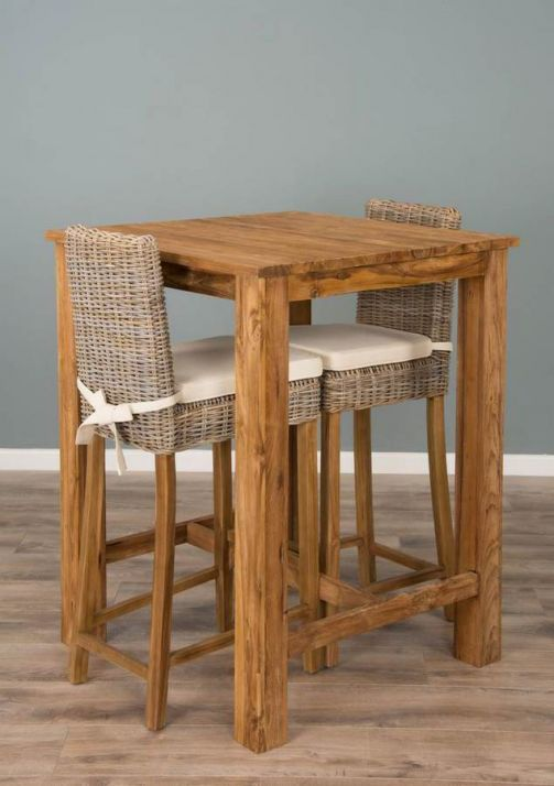 90cm Reclaimed Teak Square Bar Table with 2 Kubu Wicker Bar Stools