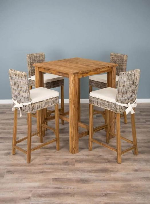 90cm Reclaimed Teak Square Bar Table with 4 Kubu Wicker Bar Stools