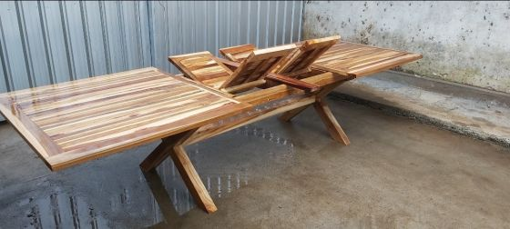 1.8m-2.4m x 1m Teak Rectangular Cross Leg Extending Garden Table