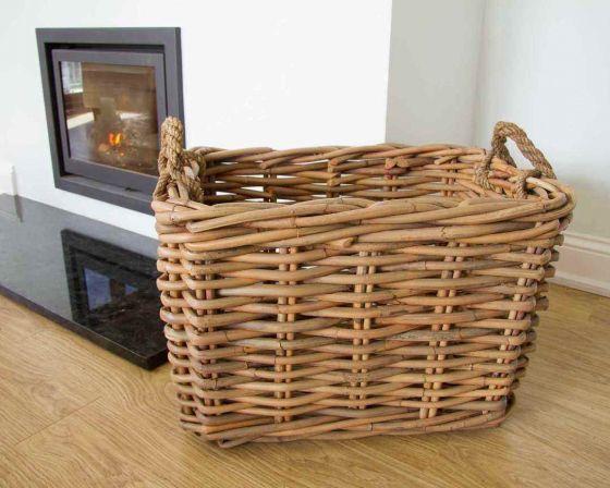 Large Rectangular Wicker Log Basket with Rope Handles