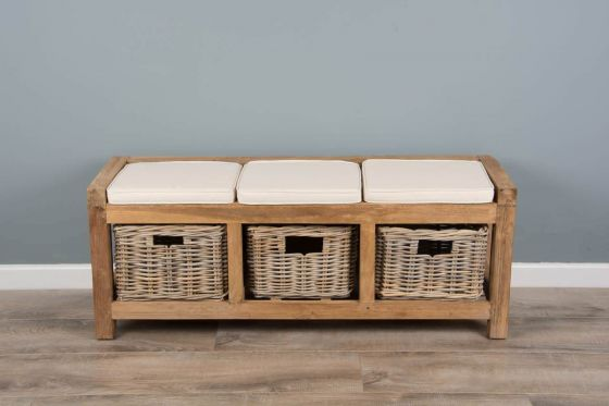 Reclaimed Teak Hall Seat with Natural Cushion - Three Basket