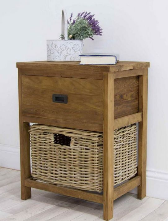Reclaimed Teak Storage Unit with 1 Drawer and 1 Wicker Basket - Rectangular