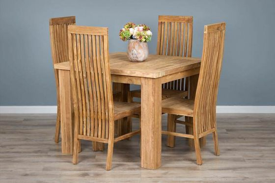 1m Reclaimed Teak Square Taplock Dining Table with 4 Vikka Dining Chairs