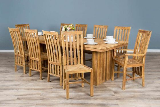 2.4m Reclaimed Teak Dining Table with 10 Santos Dining Chairs