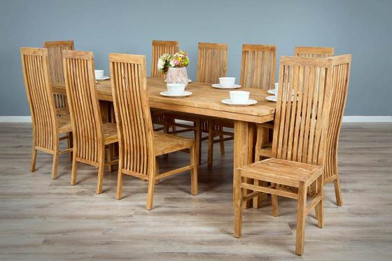 2.4m Reclaimed Teak Dining Table with 10 Vikka Dining Chairs