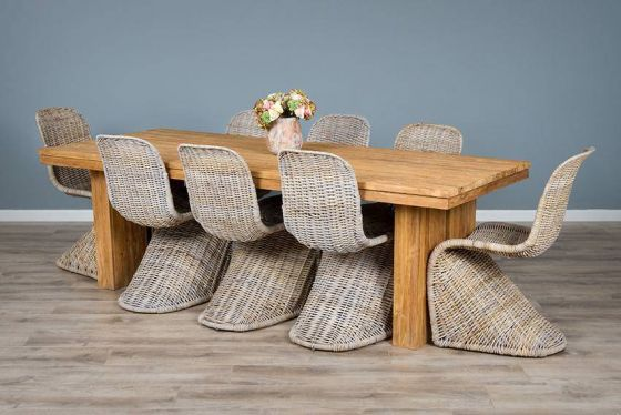 2.4m Reclaimed Teak Dining Table with 8 Stacking Zorro Chairs