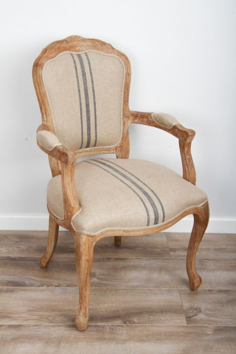 American Oak Grey Wash Beaumont Stripe Upholstered Armchair