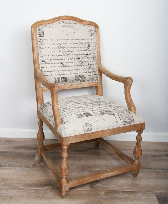 American Oak Grey Wash Solid Parisian Print Armchair
