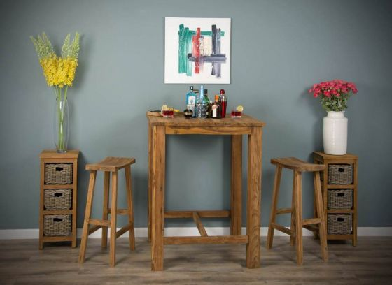 90cm Square Reclaimed Teak Bar Table with 2 or 4 Teak Bar Stools