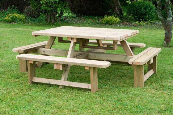 Swedish Redwood Square Picnic Table