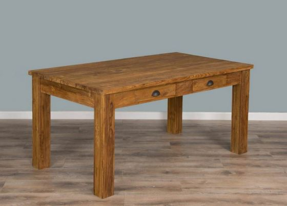 Rustic Reclaimed Teak Dining Table with Drawers