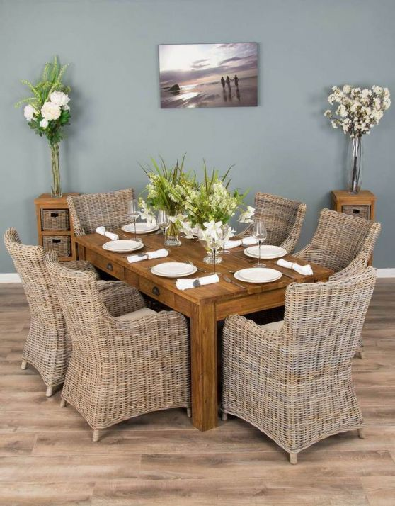 2m Rustic Reclaimed Teak Dining Table with 6 Donna Armchairs