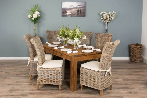 2m Rustic Reclaimed Teak Dining Table with 6 Latifa Chairs
