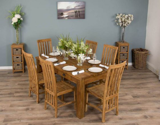 2m Rustic Reclaimed Teak Dining Table with 6 or 8 Santos Chairs