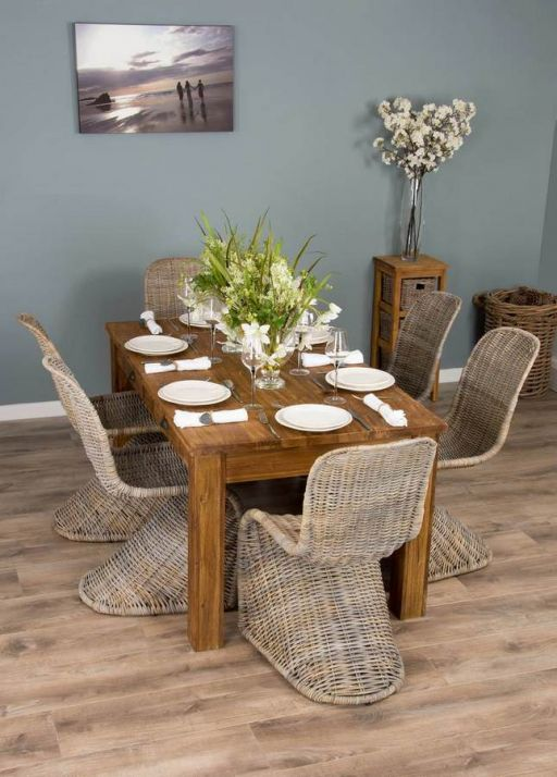 2m Rustic Reclaimed Teak Dining Table with 6 Zorro Stackable Chairs
