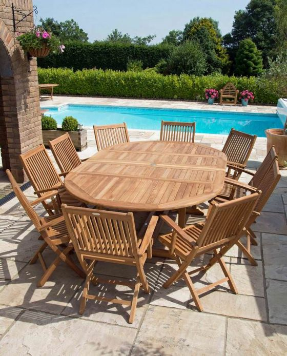 1.5m x 1.5m - 2.3m Teak Circular Double Extending Table with 10 Kiffa Folding Armchairs