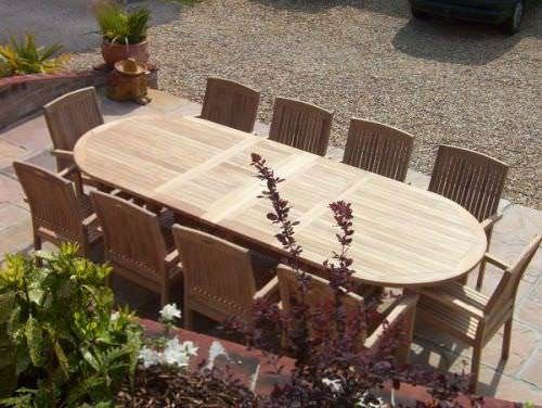 1.1m x 1.9m - 2.7m Teak Oval Double Extending Table with 10 Marley Armchairs