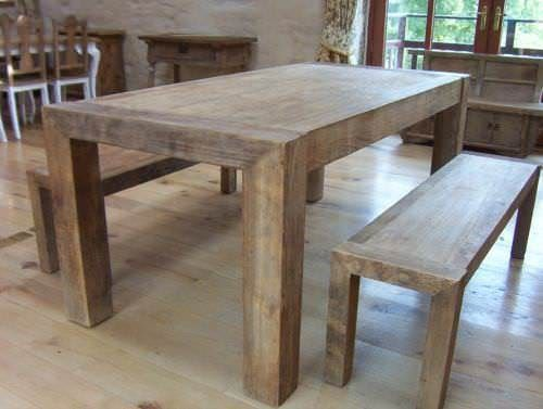 1.8m Reclaimed Elm Luxury Chunky Style Dining Table with 2 Backless Benches