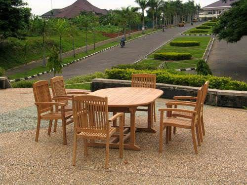 1.6m Teak Oval Pedestal Table with 6 Marley Armchairs