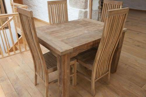 1.2m Reclaimed Teak Taplock Dining Table with 4 Vikka Dining Chairs