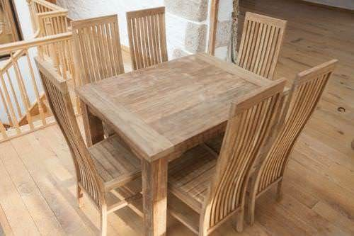 1.6m Reclaimed Teak Taplock Dining Table with 6 Vikka Dining Chairs