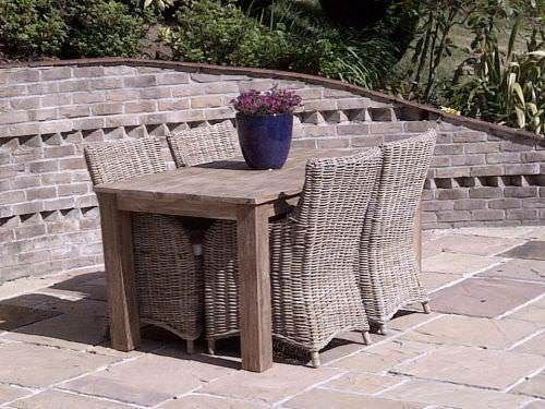 1.6m Reclaimed Teak Open Slatted Dining Table with 4 Donna Chairs
