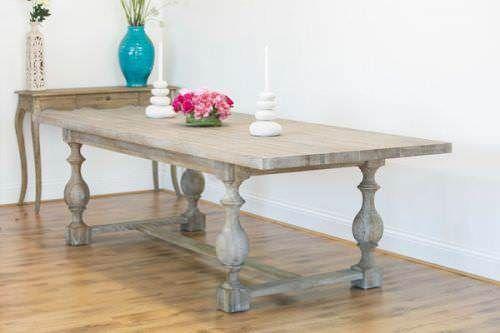 American Oak Grey Wash Dining Table, Grey Wash Furniture