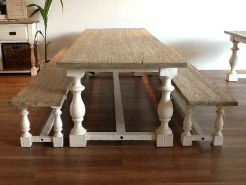 3m Reclaimed Pine Ellena Dining Table with 2 Backless Benches