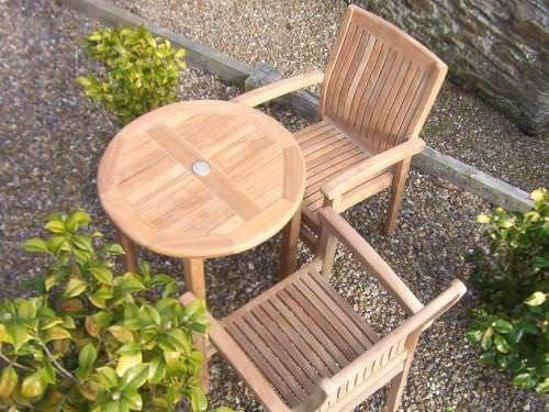 70cm Teak Circular Bistro Table with 2 Solid Teak Stacking Armchairs