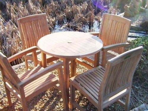 80cm Circular Fixed Table with 4 Marley Chairs