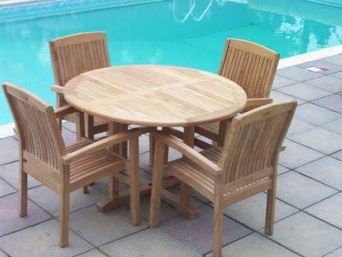 1.2m Teak Circular Pedestal Table with 4 Marley Armchairs