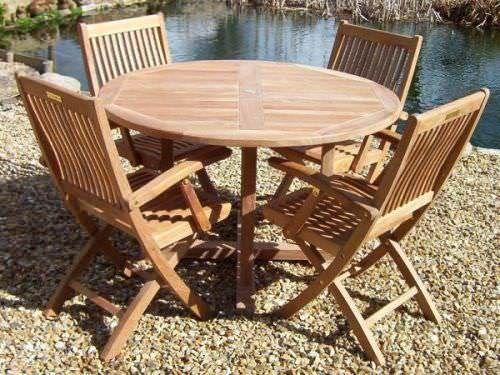 1.2m Teak Circular Pedestal Table with 4 Kiffa Folding Armchairs
